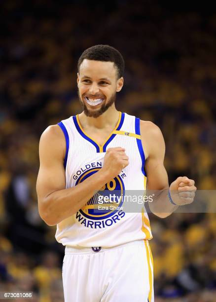 Stephen Curry of the Golden State Warriors smiles during their game against the Portland Trail Blazers in Game Two of the Western Conference...