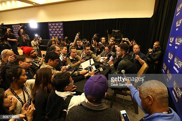 Stephen Curry of the Golden State Warriors speaks to the media during media availability as part of 2016 NBA AllStar Weekend at the Sheraton Centre...