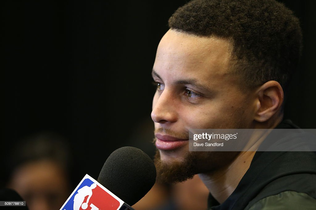 <a gi-track='captionPersonalityLinkClicked' href=/galleries/search?phrase=Stephen+Curry+-+Basketball+Player&family=editorial&specificpeople=5040623 ng-click='$event.stopPropagation()'>Stephen Curry</a> #30 of the Golden State Warriors speaks to the media during media availability as part of 2016 NBA All-Star Weekend at the Sheraton Centre Toronto Hotel on February 12, 2016 in Toronto, Ontario, Canada.