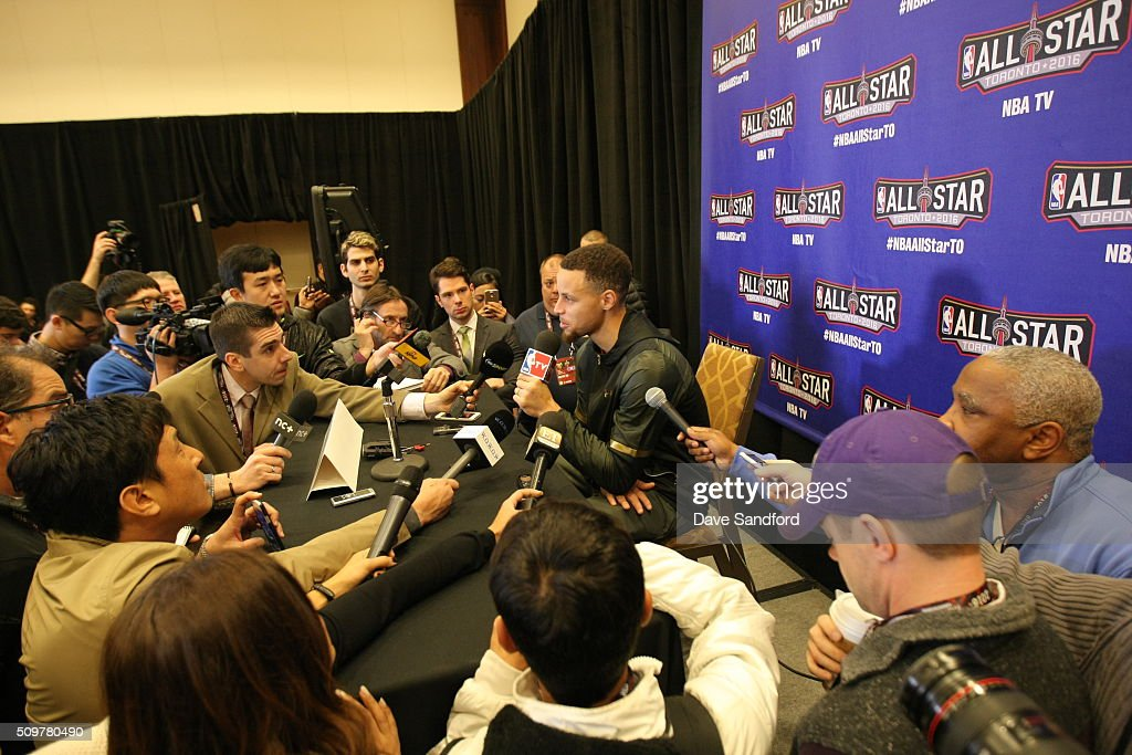Stephen Curry #30 of the Golden State Warriors speaks to the media during media availability as part of 2016 NBA All-Star Weekend at the Sheraton Centre Toronto Hotel on February 12, 2016 in Toronto, Ontario, Canada.