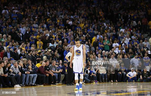 Stephen Curry of the Golden State Warriors stands on the court during their loss to the Boston Celtics at ORACLE Arena on April 1 2016 in Oakland...