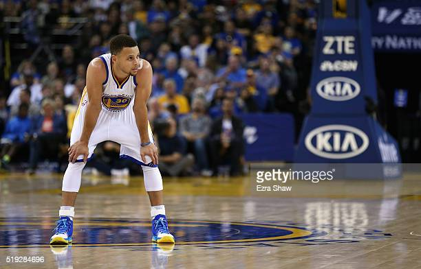 Stephen Curry of the Golden State Warriors stands on the court during their game against the Portland Trail Blazers at ORACLE Arena on April 3 2016...