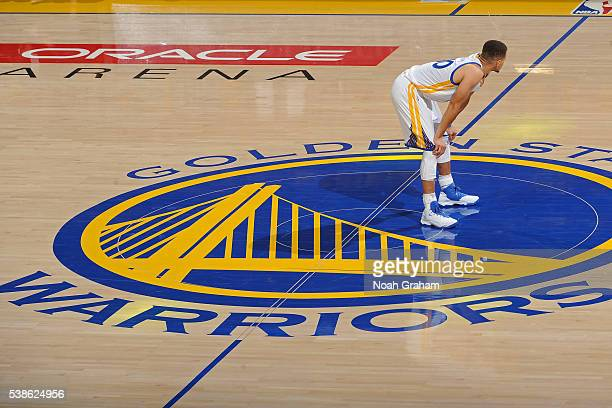 Stephen Curry of the Golden State Warriors stands on the court during Game Two of the 2016 NBA Finals against the Cleveland Cavaliers on June 5 2016...