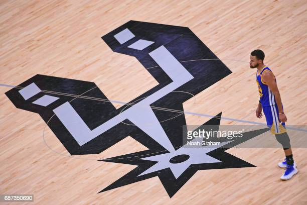 Stephen Curry of the Golden State Warriors stands on the court in Game Four of the Western Conference Finals against the San Antonio Spurs during the...