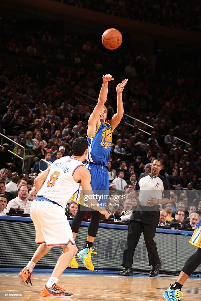 Stephen Curry #30 of the Golden State Warriors takes a shot against the New York Knicks on February 27, 2013 at Madison Square Garden in New York City.