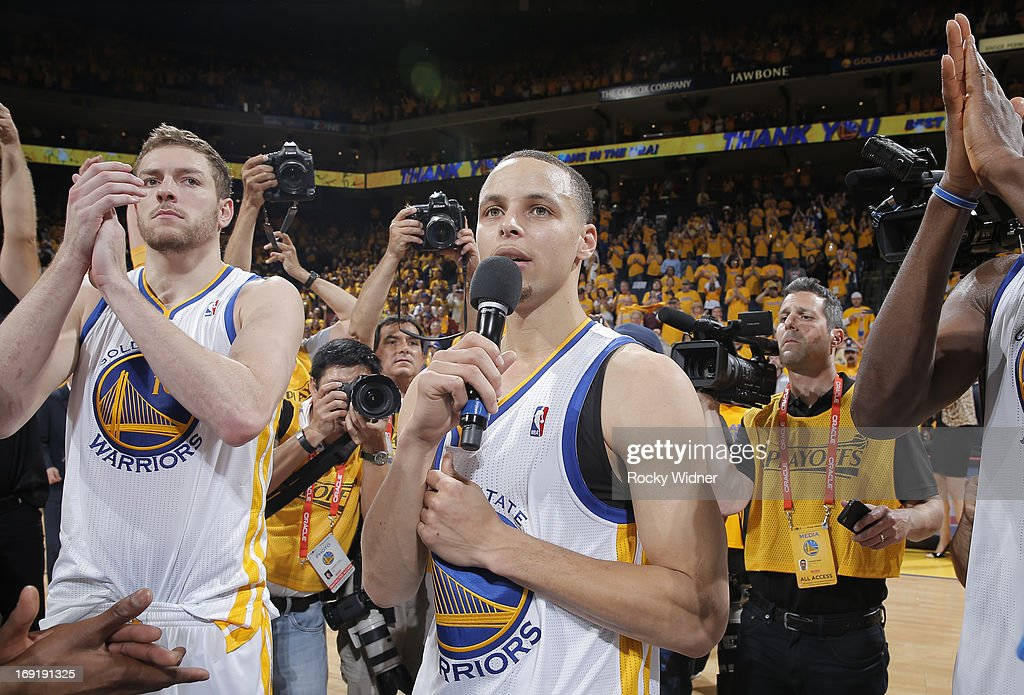 Stephen Curry #30 of the Golden State Warriors thanks fans for their continued support throughout the season after falling to the San Antonio Spurs in Game Six of the Western Conference Semifinals during the 2013 NBA Playoffs on May 16, 2013 at Oracle Arena in Oakland, California.