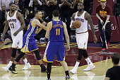 Stephen Curry of the Golden State Warriors throws his mouthguard into the stands during the fourth quarter against the Cleveland Cavaliers in Game 6...