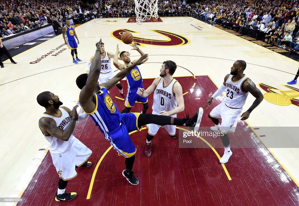 Stephen Curry #30 of the Golden State Warriors tries to control a rebound in the second half against the Cleveland Cavaliers in Game 3 of the 2017 NBA Finals at Quicken Loans Arena on June 7, 2017 in Cleveland, Ohio.