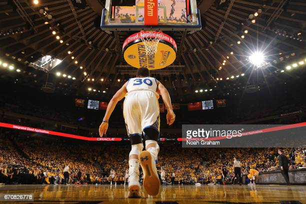 Stephen Curry of the Golden State Warriors turns around and runs up the court against the Portland Trail Blazers during Game Two of the Western...