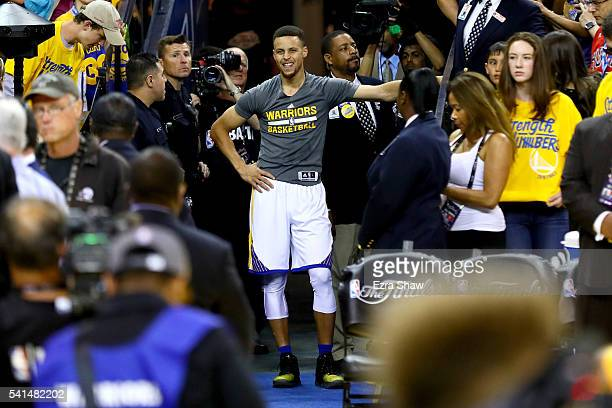 Stephen Curry of the Golden State Warriors waits to shoot a shot from the tunnel before taking on the Cleveland Cavaliers in Game 7 of the 2016 NBA...