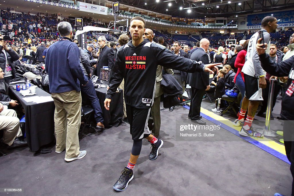 <a gi-track='captionPersonalityLinkClicked' href=/galleries/search?phrase=Stephen+Curry+-+Basketball+Player&family=editorial&specificpeople=5040623 ng-click='$event.stopPropagation()'>Stephen Curry</a> #30 of the Golden State Warriors walks off the court after the NBA All-Star Practice as part of 2016 All-Star Weekend at the Ricoh Coliseum on February 13, 2016 in Toronto, Ontario, Canada.