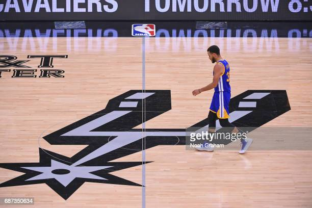 Stephen Curry of the Golden State Warriors walks up court against the San Antonio Spurs in Game Four of the Western Conference Finals during the 2017...