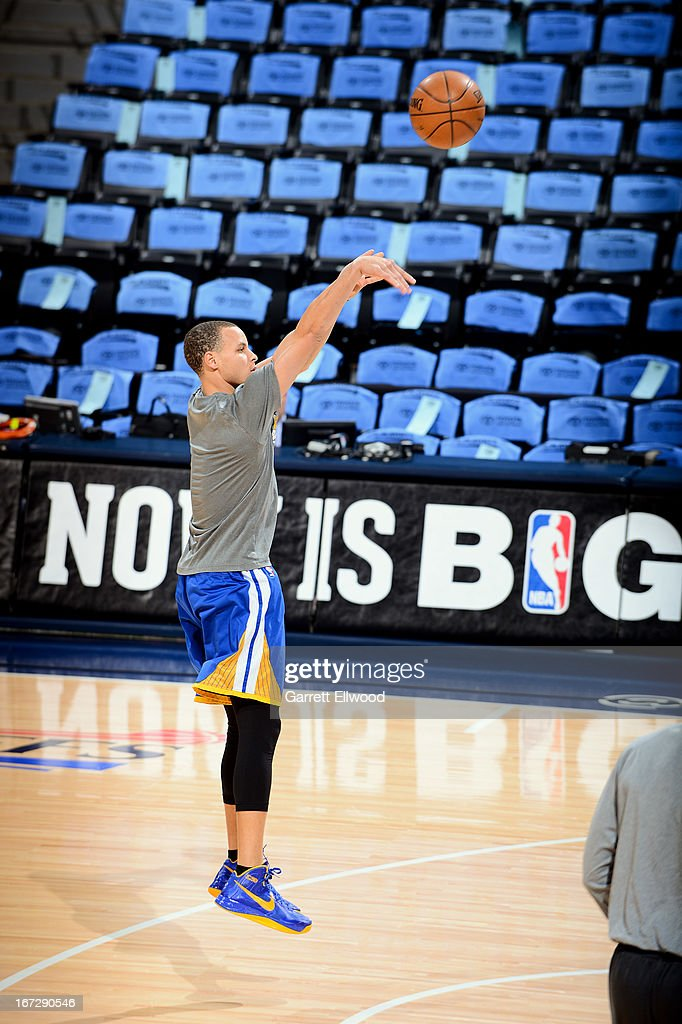 Stephen Curry of the Golden State Warriors warms up before playing against the Denver Nuggets in Game Two of the Western Conference Quarterfinals...