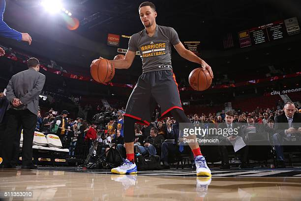 Stephen Curry of the Golden State Warriors warms up before the game against the Portland Trail Blazers on February 19 2016 at the Moda Center in...