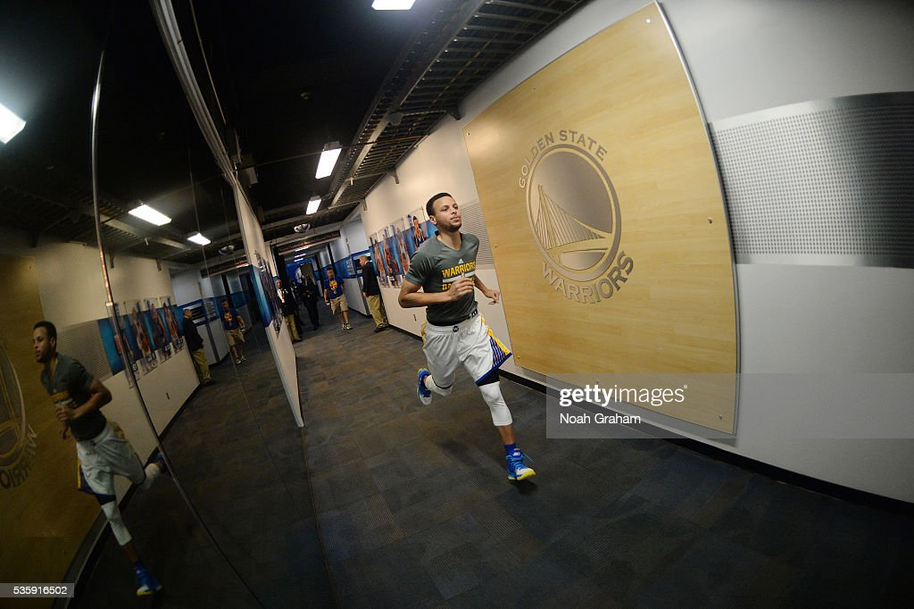 Stephen Curry #30 of the Golden State Warriors warms up before the game against the Oklahoma City Thunder in Game Seven of the Western Conference Finals during the 2016 NBA Playoffs on May 30, 2016 at ORACLE Arena in Oakland, California.