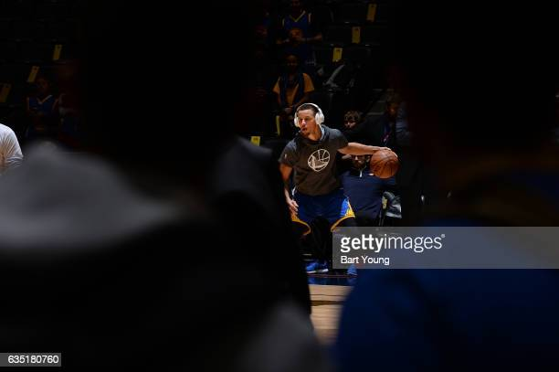 Stephen Curry of the Golden State Warriors warms up before the game against the Denver Nuggets on February 13 2017 at the Pepsi Center in Denver...