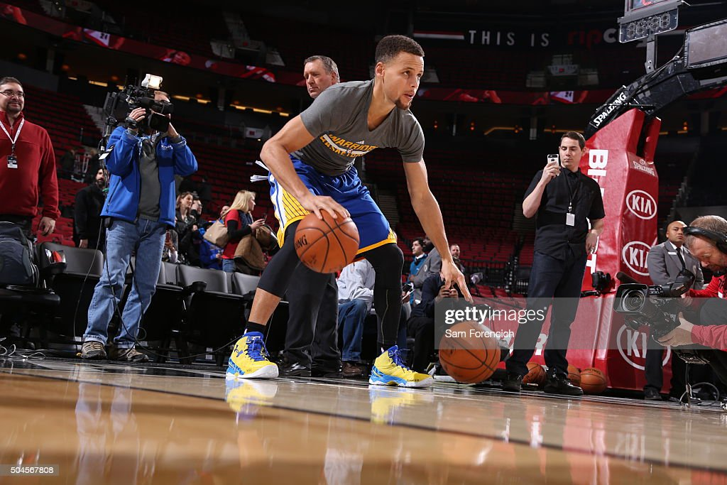 Stephen Curry of the Golden State Warriors warms up dribbling before the game against the Portland Trail Blazers on January 8 2016 at the Moda Center...