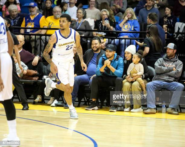 Stephen Curry of the Golden State Warriors with his family attend the GLeague game between the Wisconsin Herd and the Santa Cruz Warriors on November...