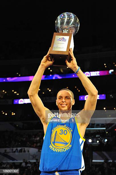 Stephen Curry of the West AllStar Team wins the 2011 Taco Bell Skills Challenge at Staples Center on February 19 2011 in Los Angeles California NOTE...