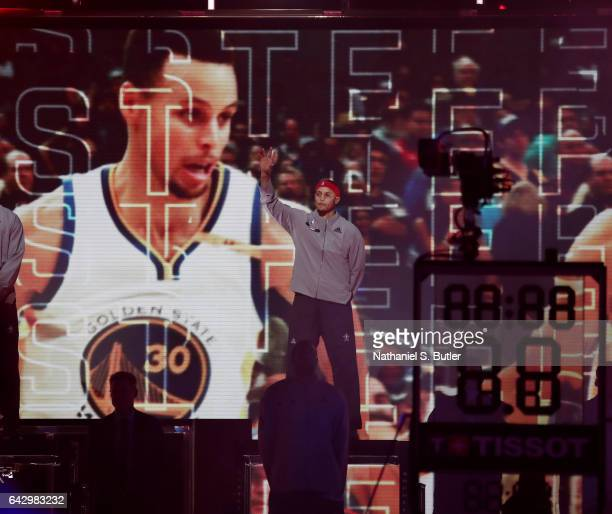 Stephen Curry of the Western Conference AllStars intro during the NBA AllStar Game as part of the 2017 NBA All Star Weekend on February 19 2017 at...