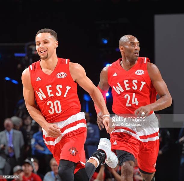 Stephen Curry of the Western Conference AllStars looks on during the NBA AllStar Game as part of the 2016 NBA All Star Weekend on February 14 2016 at...