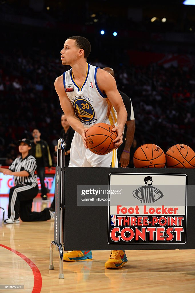 Stephen Curry shoots during the Foot Locker Three-Point Contest on State Farm All-Star Saturday Night during NBA All Star Weekend on February 16, 2013 at the Toyota Center in Houston, Texas.