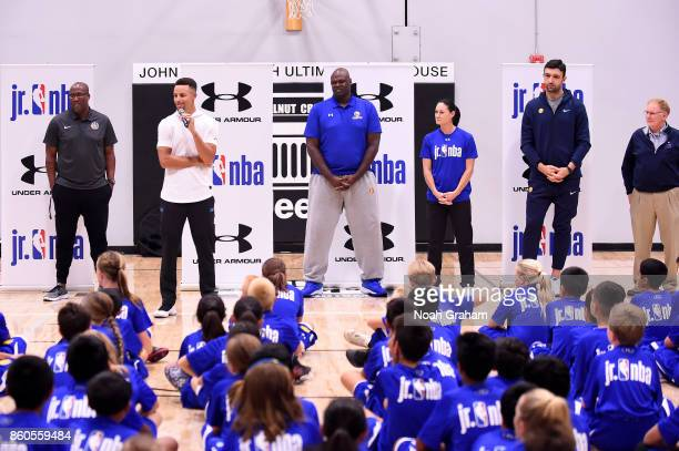 Stephen Curry Zaza Pachulia and assistant coach Mike Brown of the Golden State Warriors along with NBA Legend Adonal Foyle and WNBA Legend Jennifer...