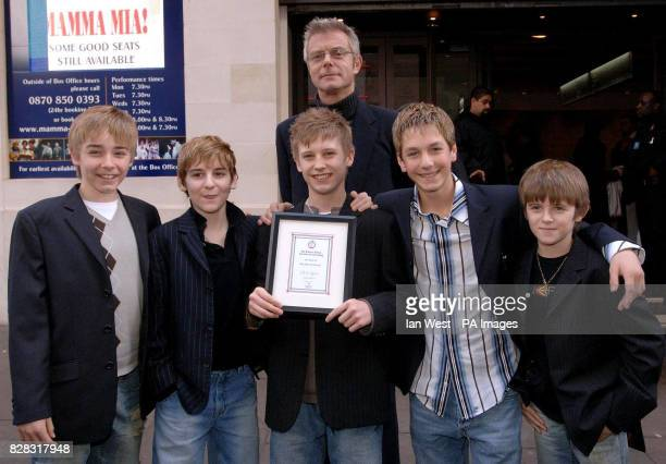 Stephen Daldrey with Liam Mower Leon Cooke George Maguire James Lomas and Travis Yates who all star as Billy Elliot Billy Elliot won the Best Musical...