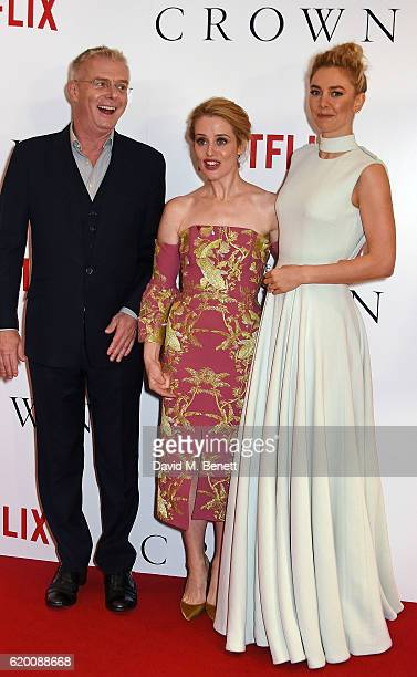 Stephen Daldry Claire Foy and Vanessa Kirby attend the World Premiere of new Netflix Original series 'The Crown' at Odeon Leicester Square on...