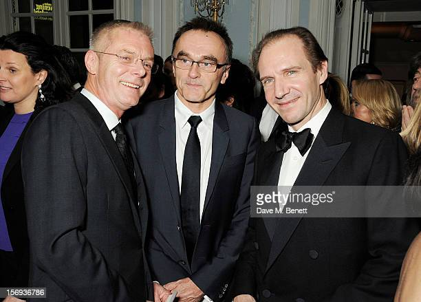Stephen Daldry Danny Boyle and Ralph Fiennes attend a drinks reception at the 58th London Evening Standard Theatre Awards in association with...