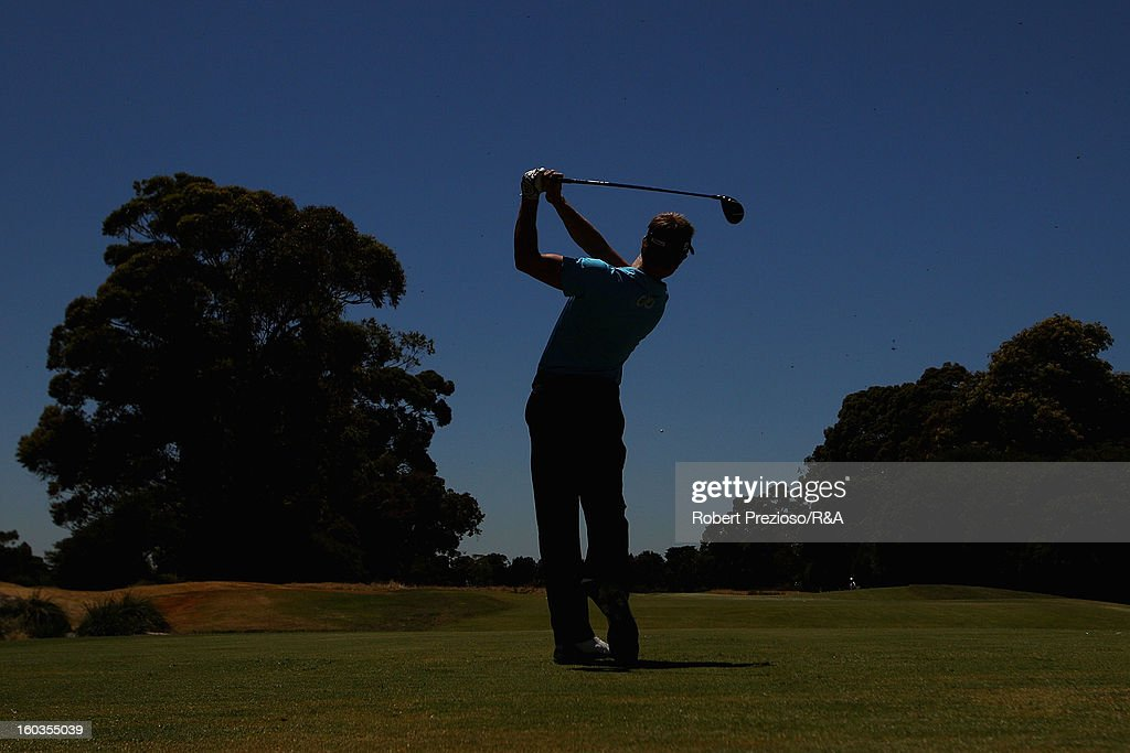 Stephen Dartnall of Australia plays a shot on the 18th hole during day two of the British Open International Final Qualifying Australasia at Kingston Heath Golf Club on January 30, 2013 in Melbourne, Australia.