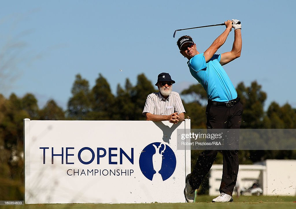 Stephen Dartnall of Australia plays a shot on the 5th hole during day two of the British Open International Final Qualifying Australasia at Kingston Heath Golf Club on January 30, 2013 in Melbourne, Australia.