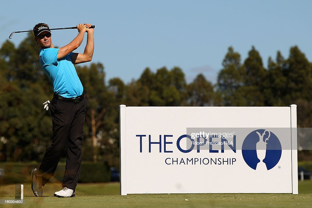 Stephen Dartnall of Australia prepares to play a shot on the 5th hole during day two of the British Open International Final Qualifying Australasia at Kingston Heath Golf Club on January 30, 2013 in Melbourne, Australia.