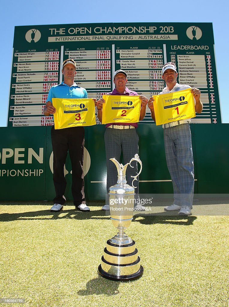 Stephen Dartnall of Australia, Steven Jeffress of Australia and Mark Brown of New Zealand pose for photos after qualifying during day two of the British Open International Final Qualifying Australasia at Kingston Heath Golf Club on January 30, 2013 in Melbourne, Australia.