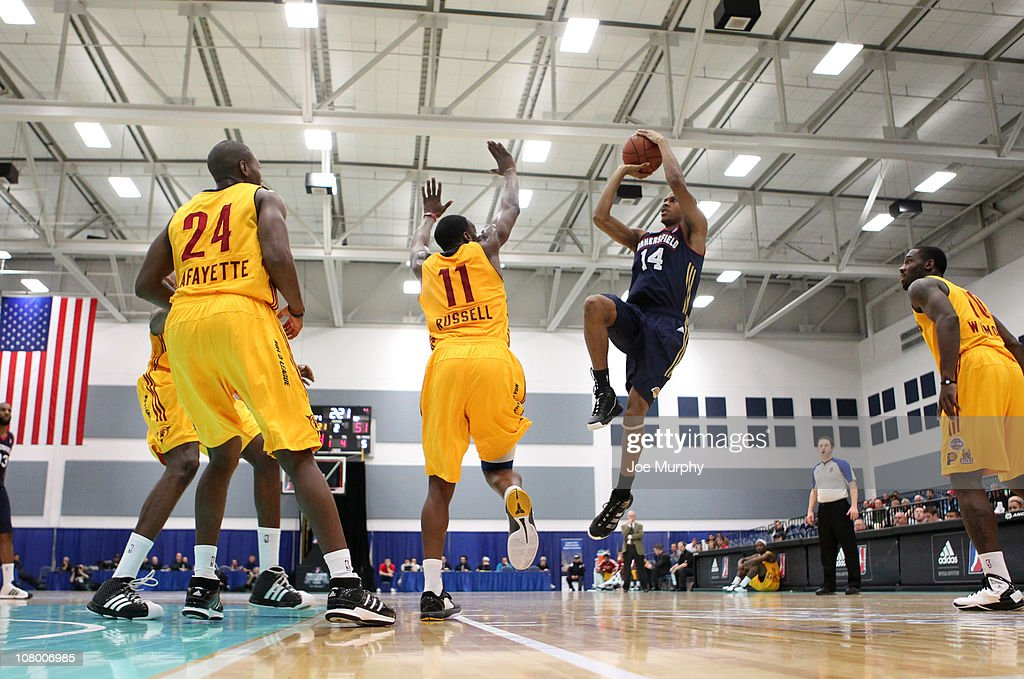Stephen Dennis #14 of the Bakersfield Jam shoots the ball against the Fort Wayne Mad Ants during the 2011 NBA D-League Showcase on January 12, 2011 at the South Padre Island Convention Center in South Padre Island, Texas.