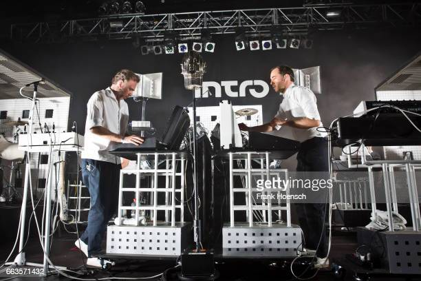 Stephen Dewaele and David Dewaele of the Belgian band Soulwax perform live during a jubilee concert of Intro magazine at the Huxleys on April 1 2017...