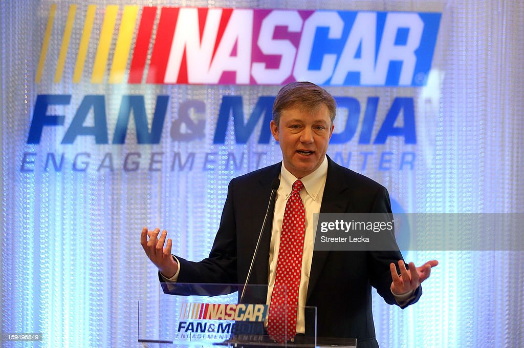 Stephen DeWitt, Hewlett Packard Senior Vice President Enterprise Marketing, speaks to the media during the NASCAR Fan and Media Engagement Center Unveiling at NASCAR Plaza on January 14, 2013 in Charlotte, North Carolina.