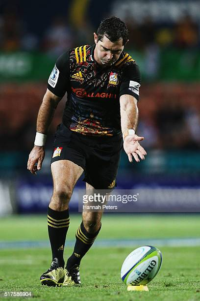 Stephen Donald of the Chiefs kicks a conversion during the round five Super Rugby match between the Chiefs and the Western Force at FMG Stadium on...