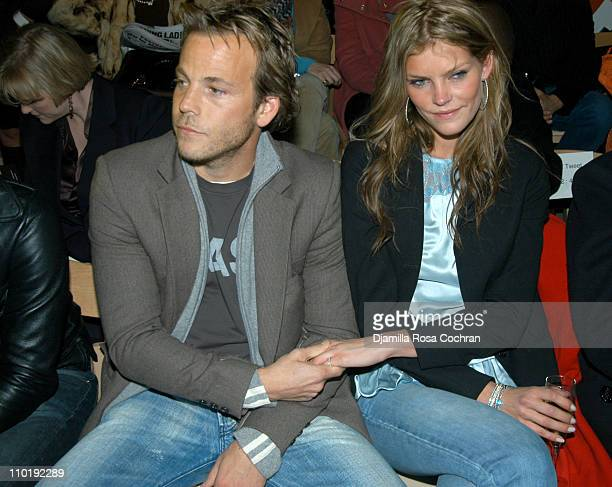Stephen Dorff and May Andersen during Olympus Fashion Week Fall 2004 Custo Barcelona Front Row at The Promenade at Bryant Park in New York City New...