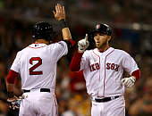 Stephen Drew celebrates with Jacoby Ellsbury of the Boston Red Sox after hitting a home run in the fourth inning against the St Louis Cardinals...