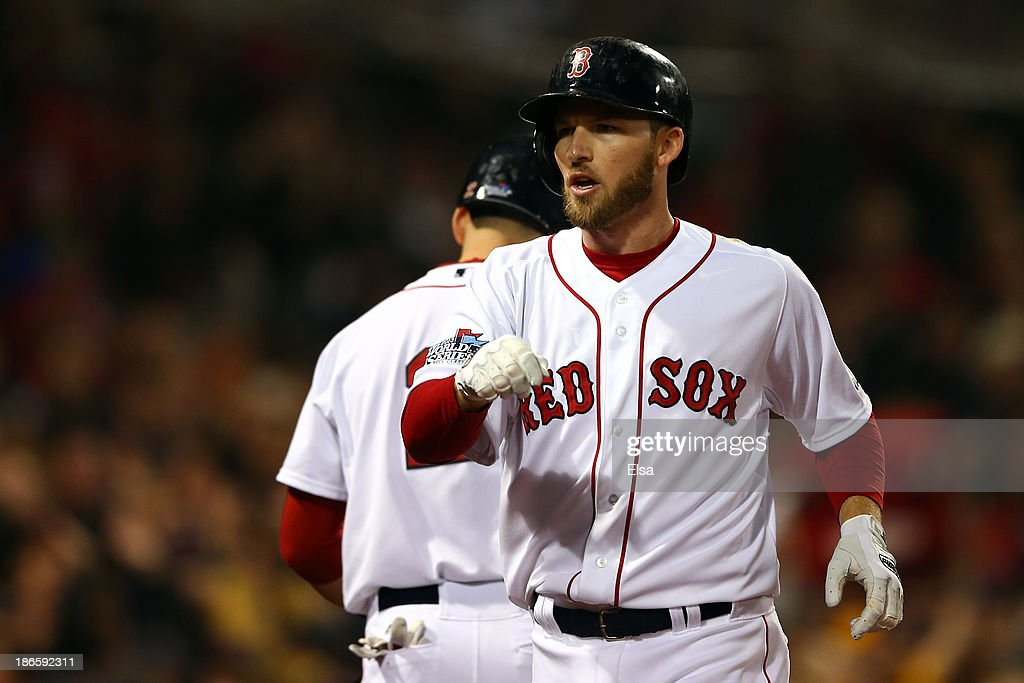Stephen Drew #7 celebrates with Jacoby Ellsbury #2 of the Boston Red Sox after hitting a home run in the fourth inning against the St. Louis Cardinals during Game Six of the 2013 World Series at Fenway Park on October 30, 2013 in Boston, Massachusetts.
