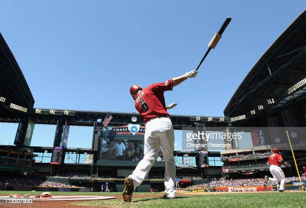 Stephen Drew of the Arizona Diamondbacks warms up on deck during the Major League Baseball game against the Chicago Cubs at Chase Field on May 1 2011...