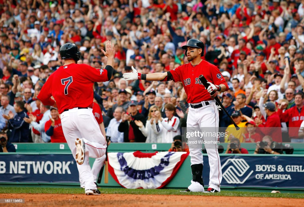 <a gi-track='captionPersonalityLinkClicked' href=/galleries/search?phrase=Stephen+Drew&family=editorial&specificpeople=757520 ng-click='$event.stopPropagation()'>Stephen Drew</a> #7 of the Boston Red Sox celebrates a run with <a gi-track='captionPersonalityLinkClicked' href=/galleries/search?phrase=Jacoby+Ellsbury&family=editorial&specificpeople=4172583 ng-click='$event.stopPropagation()'>Jacoby Ellsbury</a> #2 against the Tampa Bay Rays during Game One of the American League Division Series at Fenway Park on October 4, 2013 in Boston, Massachusetts.