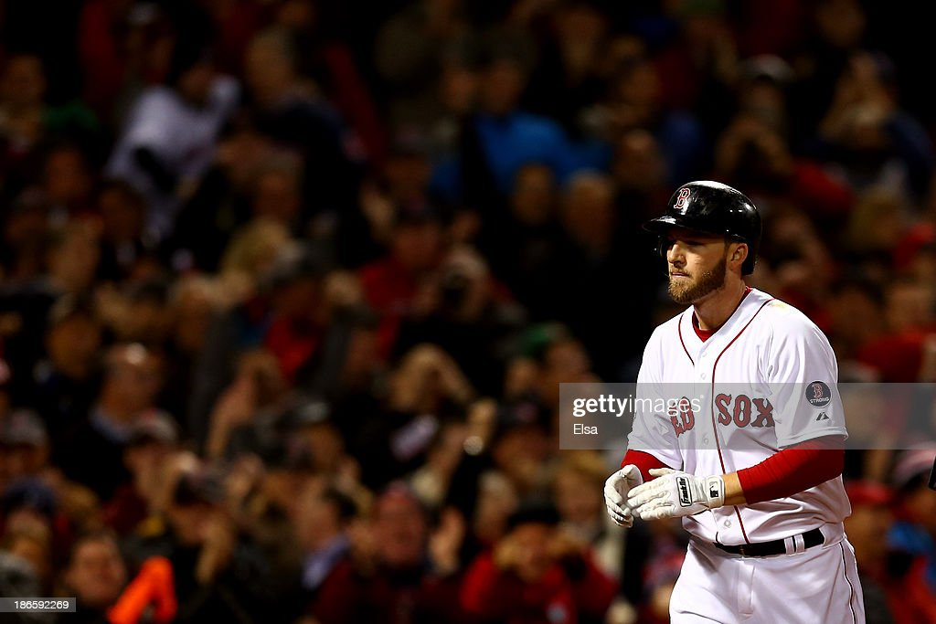 Stephen Drew #7 of the Boston Red Sox celebrates after hitting a home run in the fourth inning against the St. Louis Cardinals during Game Six of the 2013 World Series at Fenway Park on October 30, 2013 in Boston, Massachusetts.