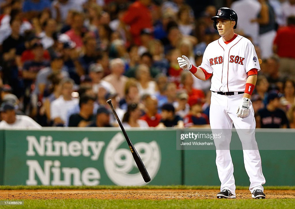 <a gi-track='captionPersonalityLinkClicked' href=/galleries/search?phrase=Stephen+Drew&family=editorial&specificpeople=757520 ng-click='$event.stopPropagation()'>Stephen Drew</a> #7 of the Boston Red Sox flips his bat to the ground after flying out in the 7th inning against the Tampa Bay Rays during the game on July 24, 2013 at Fenway Park in Boston, Massachusetts.