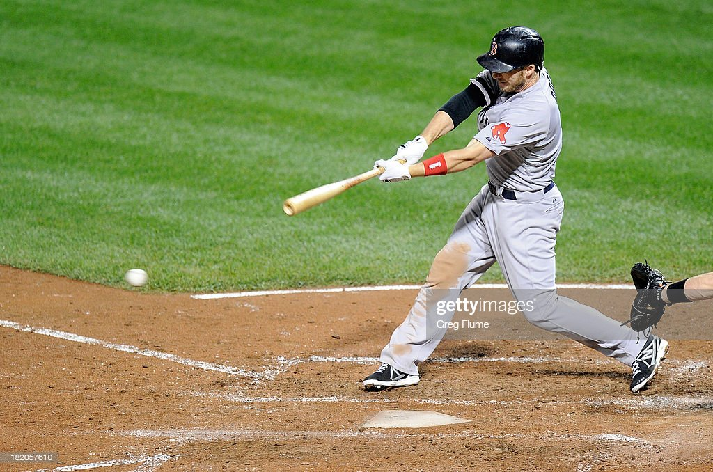 <a gi-track='captionPersonalityLinkClicked' href=/galleries/search?phrase=Stephen+Drew&family=editorial&specificpeople=757520 ng-click='$event.stopPropagation()'>Stephen Drew</a> #7 of the Boston Red Sox hits a single in the third inning against the Baltimore Orioles at Oriole Park at Camden Yards on September 27, 2013 in Baltimore, Maryland.