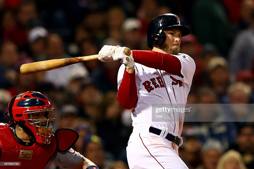 Stephen Drew #7 of the Boston Red Sox looks on after hitting a home run in the fourth inning against the St. Louis Cardinals during Game Six of the 2013 World Series at Fenway Park on October 30, 2013 in Boston, Massachusetts.