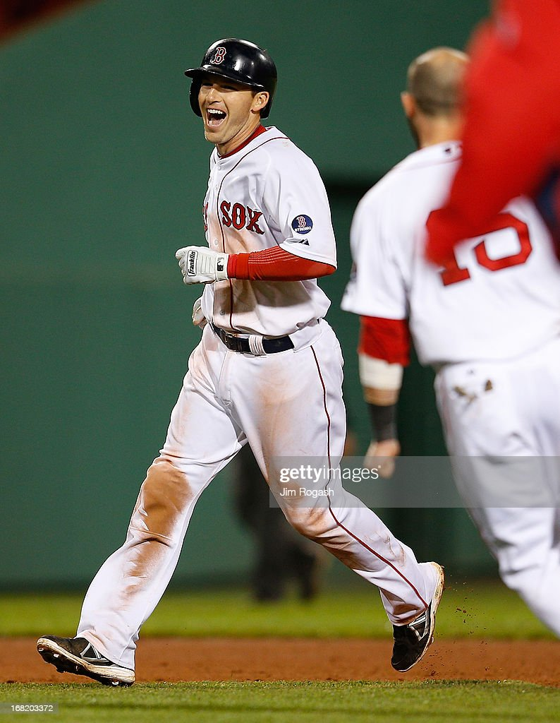 Stephen Drew #7 of the Boston Red Sox reacts after knocking in the winning run in the 11th inning against the Minnesota Twins to give the Red Sox a 6-5 win at Fenway Park on May 6, 2013 in Boston, Massachusetts.
