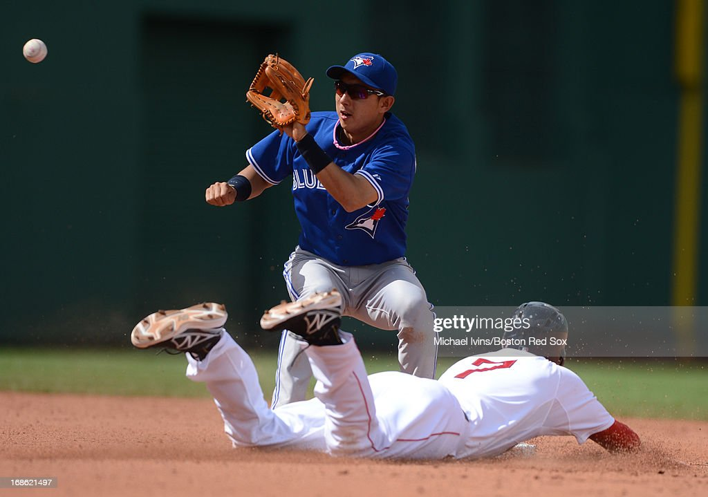Stephen Drew #7 of the Boston Red Sox slides into second with a stolen base ahead of the throw to Munenori Kawasaki #66 of the Toronto Blue Jays in the fifth inning on May 12, 2013 at Fenway Park in Boston, Massachusetts.