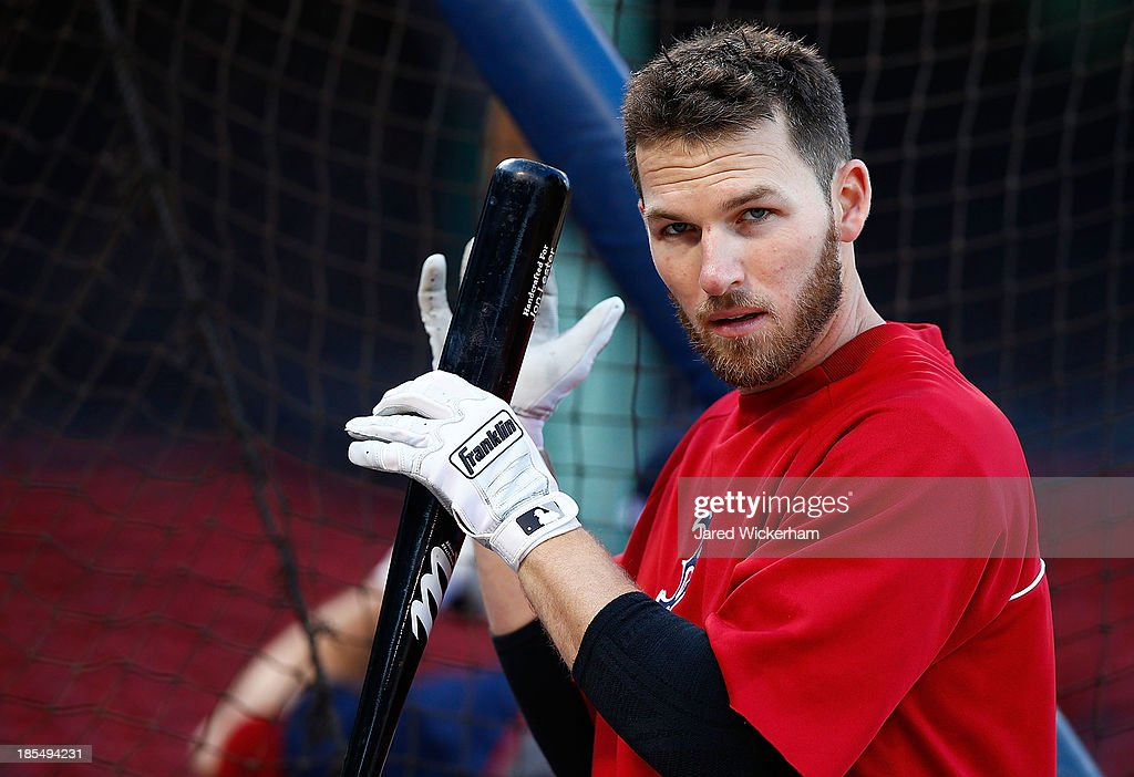 <a gi-track='captionPersonalityLinkClicked' href=/galleries/search?phrase=Stephen+Drew&family=editorial&specificpeople=757520 ng-click='$event.stopPropagation()'>Stephen Drew</a> #7 of the Boston Red Sox takes batting practice during the workout prior to the start of the World Series on October 21, 2013 at Fenway Park in Boston, Massachusetts.